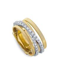 Marco Bicego | Metallic 18k Yellow Gold Goa Five Row Ring With Diamonds | Lyst