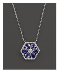 "Dana Rebecca Jennifer Yamina Iolite And Diamond Necklace In 14k White Gold, 16"""