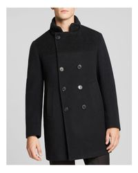 Armani   Blue Double-breasted Wool Blend Coat for Men   Lyst