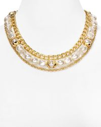 "T Tahari | Metallic Layered Chain Necklace, 17"" | Lyst"