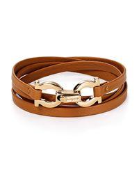 Ferragamo Brown Quadruple Wrap Double Gancini Bracelet