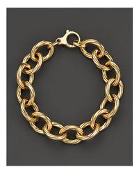 Roberto Coin | Metallic 18k Yellow Gold Textured Oval Link Bracelet - 100% Exclusive | Lyst