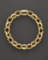Roberto Coin | Metallic 18k Yellow Gold Rounded Oval Link Bracelet | Lyst