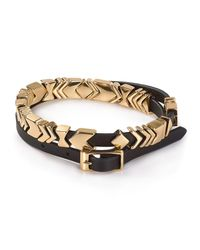 House of Harlow 1960 | Black Aztec Leather Wrap Bracelet | Lyst
