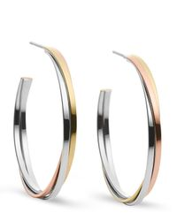 Michael Kors | Metallic Tri-tone Whisper Hoop Earrings | Lyst
