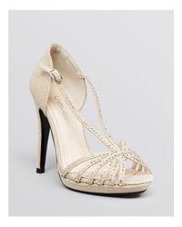 Caparros Natural Platform Evening Sandals - Precious High High Heel