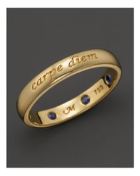 "Monica Rich Kosann | Metallic 18k Yellow Gold ""carpe Diem"" Posey Ring With Sapphires 