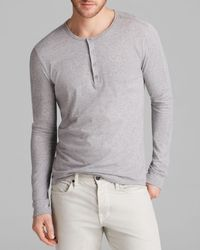 VINCE | Gray Favorite Jersey Long Sleeve Henley for Men | Lyst