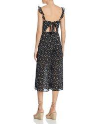 Re:named Black Cropped Wide-leg Floral Jumpsuit