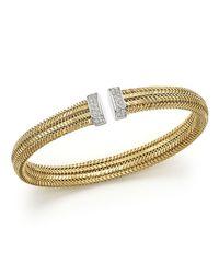 Roberto Coin | White 18k Yellow Gold Primavera Woven Bracelet With Diamonds | Lyst