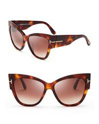 Tom Ford Brown Anoushka Cat Eye Sunglasses, 57mm