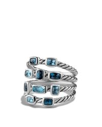 David Yurman Metallic Confetti Ring With Blue Topaz And Hampton Blue Topaz