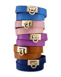 Ferragamo Brown Gancini Double Wrap Leather Bracelet