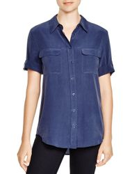 Equipment | Blue Blouse - Short Sleeve Slim Signature | Lyst