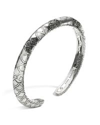 John Hardy | Metallic Women's Sterling Silver Naga Lava Slim Kick Cuff With Black Sapphires | Lyst