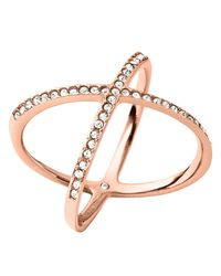 Michael Kors | Pink Pave X Ring | Lyst