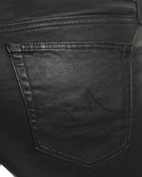 AG Jeans Gray Coated Legging Ankle Jeans In Leatherette Super Black