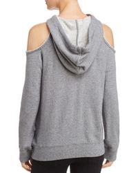 Splendid - Gray Cold-shoulder Hooded Sweatshirt - Lyst