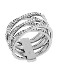 Michael Kors Metallic Clear Stone Crisscross Ring