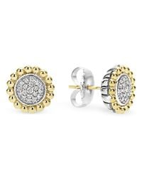 Lagos | Metallic Sterling Silver And 18k Gold Caviar Stud Earrings With Diamonds | Lyst