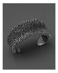 Roberto Coin | Black Ruthenium Plated Sterling Silver Stingray Wide Concave Cuff | Lyst