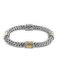 John Hardy | Metallic Sterling Silver And 18k Bonded Gold Palu Four Station Bracelet | Lyst