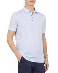 Ted Baker Blue Geo Print Cotton Polo Shirt for men
