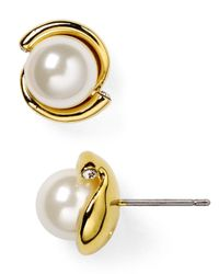kate spade new york | Natural Dainty Sparkler Faux Pearl Stud Earrings | Lyst