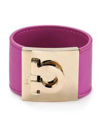 Ferragamo - Pink Leather Gancini Bangle - Lyst