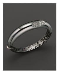 Roberto Coin - Metallic Medium Sterling Silver Bangle With Diamonds - Lyst