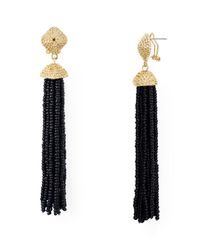 Aqua | Black Leslie Tassel Drop Earrings | Lyst