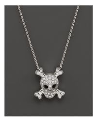 "Roberto Coin Metallic 18k White Gold Diamond Skull & Crossbones Pendant Necklace, 16"""