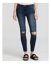 Free People   Blue Destroyed Skinny Jeans In Josie Wash   Lyst