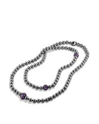 David Yurman - Black Osetra Necklace With Hematine And Amethyst - Lyst