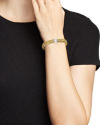 Roberto Coin Metallic 18k Yellow Gold Primavera Woven Bracelet With Diamonds