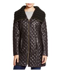 Via Spiga | Black Quilted Coat With Cable Knit Collar | Lyst