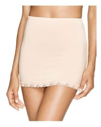 Hanky Panky Natural Silky Fitted Lace Trim Half Slip