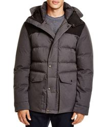 Cole Haan - Gray Mixed Media Hooded Down Jacket - Lyst