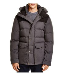 Cole Haan Gray Mixed Media Hooded Down Jacket