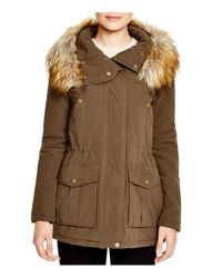 DKNY | Green Faux Fur Trim Hooded Anorak | Lyst