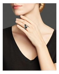 John Hardy | Metallic Women's Dot Silver Lava Toi Moi Ring With Black Sapphire | Lyst