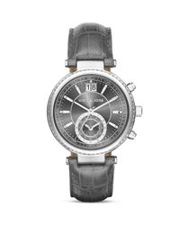 Michael Kors | Gray Sawyer Leather Strap Watch, 39mm | Lyst