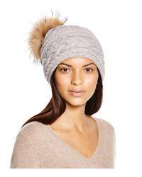 Inverni - Gray Braid Knit Beanie With Asiatic Racoon Fur Pom-pom - Lyst