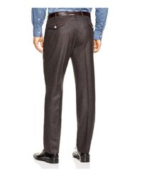 Valentini Brown Flannel Melange Slim Fit Trousers for men