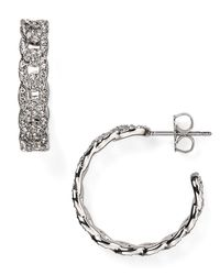 Nadri   Metallic Crystal-studded Hoop Earrings   Lyst
