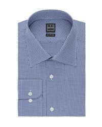 Ike Behar Blue Mini Check Classic Fit Dress Shirt for men