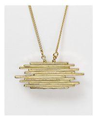 "Aqua - Metallic Lara Bar Pendant Necklace, 28.3"" - Lyst"