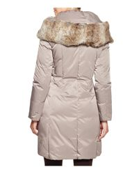 Elie Tahari Metallic Nina Fur Trim Puffer Coat