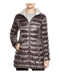 Laundry by Shelli Segal - Gray Reversible Packable Puffer Coat - Lyst