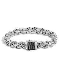 John Hardy | Metallic Classic Chain Sterling Silver Lava Medium Flat Twisted Chain Bracelet With Black Sapphire | Lyst